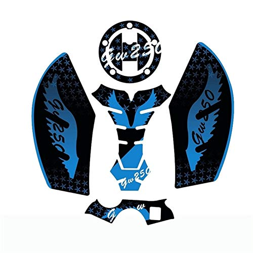 3D Motorcycle Tank Pad Gel Protector Sticker Bandit Tankpad Case For GW250 (Color : Blue)
