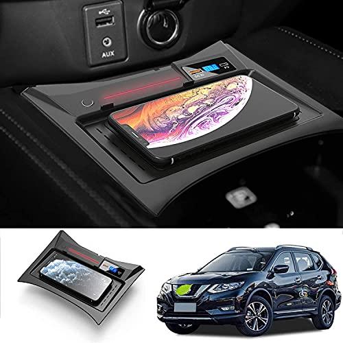 Cargador de coche inalámbrico para Rogue 2015 2016 2017 2018 2019 Panel de accesorios de consola central, cargador de teléfono de carga rápida Qi de 15 W para iPhone Samsung