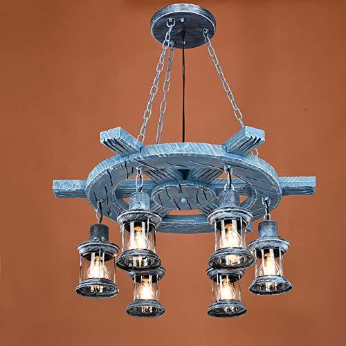 Pinjeer E27 6-Lights American Vintage Timone in legno Lampadario Retrò Industriale in ferro battuto Chanin vetro regolabile luci a sospensione Cafe Bar ristorante lampade a soffitto (Color : Blue)