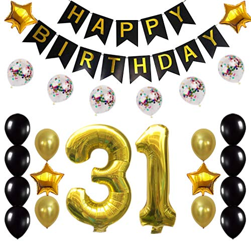 31st Birthday Decorations Party Supplies Happy 31st Birthday Confetti Balloons Banner and 31 Number Sets for 31 Years Old Party(Gold)