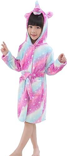 Kids Fleece Soft Unicorn Mickey Hooded Bathrobe Sleepwear Nightwear Loungewear