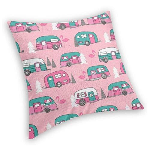 Fluwelen Happy Camper Roze Retro Flamingo Camping Zachte Bodem Decoratieve Vierkant Gooi Kussenslopen Kussenslopen Kussenslopen voor Slaapbank Auto 16x16in 22