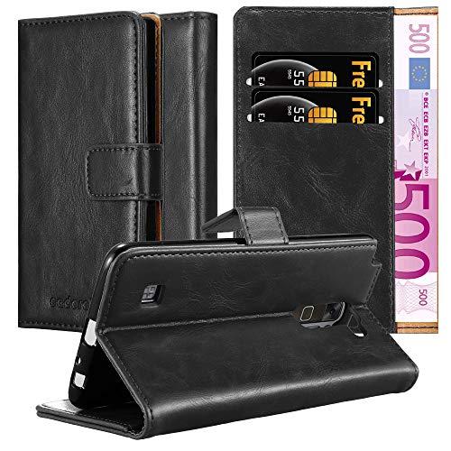 Cadorabo Hülle für LG Stylus 2 - Hülle in Graphit SCHWARZ – Handyhülle im Luxury Design mit Kartenfach & Standfunktion - Case Cover Schutzhülle Etui Tasche Book