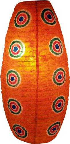 Preisvergleich Produktbild Guru-Shop Ovaler Lokta Papierlampenschirm,  Hängelampe Corona Retro,  Orange,  Lokta-Papier,  Farbe: Orange,  52x29x29 cm,  Papierlampenschirme Oval