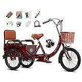Triciclo adulto senior Bicicleta de 3 ruedas, Con cesto delantero y asientos traseros Bicicleta de crucero de tres ruedas y 1 velocidad, Asiento y manillar ajustables, Tripulado / carga, doble freno