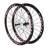 ZNND Ruedas de Bicicleta,Llanta de Aleación Aluminio Carretera Bicicleta Rueda 700C Primeros 2 Últimos 4 Rodamientos 8/9/10/11 Velocidad (Color : Pink)