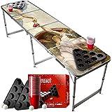 Juego de Beer Pong Dios | 1 Mesa + 2 Estantes + 22 Copas Rojas + 4 Bolas | Mesa Oficial | Juego de Beber | OriginalCup®