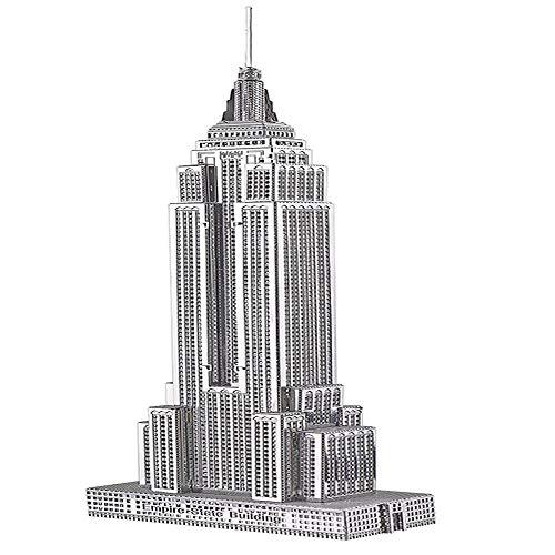 piececool Puzzle 3D fai da te in metallo per adulti, modello Empire State BUILDING, 21 pezzi (argento)