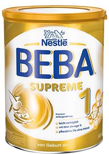 Nestlé BEBA SUPREME 1 Anfangsnahrung: von Geburt an, Pulver, mit pflanzlichen Ölen, ohne Palmöl, 1er Pack (1 x 800g)
