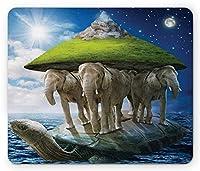ファンタジーマウスパッド、背中にゾウと地球を運ぶ亀動物、宇宙哲学、標準サイズの長方形の滑り止めラバーマウスパッド、グリーンブルーホワイト
