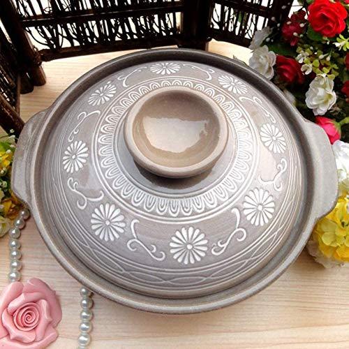 ETDWA Keramik Japanischer heißer Topf, hitzebeständiger runder Auflauf mit Deckel, Tongefäß aus Keramikbank, Tontopf mit Antihaftbeschichtung, Suppentopf, Reiskocher A 26 x 26 x 10 cm (10 x 10 x 4