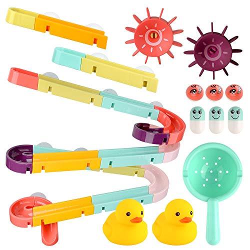 XKMY Juguete de baño Elefante Eléctrico Agua Spray Juguetes para Niños Bebé Baño Bañera Grifo de Ducha Juguetes Fuerte Ventosa Juego de Agua para Niños (Color: 44pcs Track ST017C)