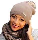 Damen Frauen Strickmütze Beanie mit Fellbommel Herbst Winter Bommelmütze mit großem Kunstfellbommel (ZI) (Cappucino)