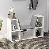 soges Sitzhocker Sitzbank Sitzbänke & -truhen mit 6 Stauräumen für Aufbewahrung,Sitzbar mit weich Kissen,102 * 30 * 61CM,Weiß