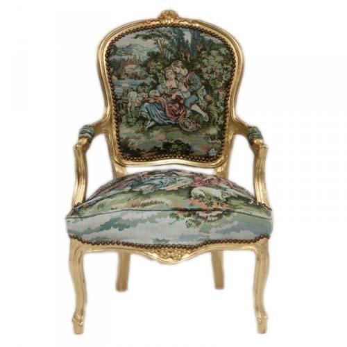 Casa Padrino Barock Salon Stuhl Gobelin/Gold