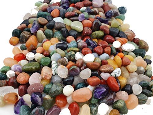 Edelstein Set im Beutel - Bunte Tommelsteinmischung verschiedene Größen - Natürliche Edelsteine zur Dekoration zu Hause, als Geschenkidee für Kinder, Heilstein oder Vieles mehr (M)