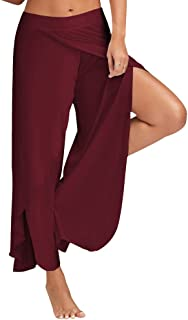 Women's Casual High Split Wide Leg Pants,YuhooSun Loose Yoga Sport Solid Color Comfy Stretchy Palazzo Lounge Trousers