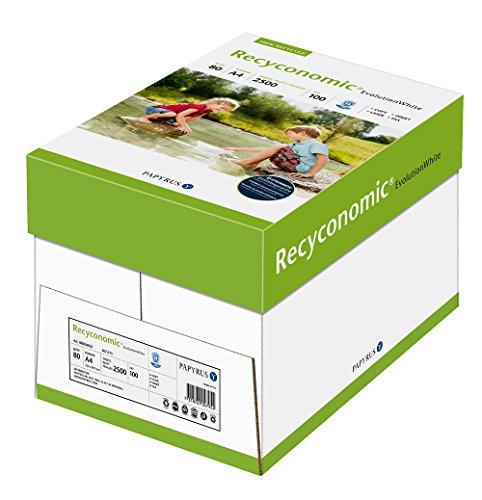 Papyrus 88054052 Recycling-Papier, Druckerpapier Recyconomic EvolutionWhite, 80 g A4, 5x500 Blatt = 1 Karton, ungestrichen, matt, hochweiß