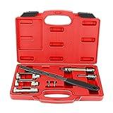 Qiilu Auto Attrezzi per molla valvola compressore, Kit di riparazione set di utensili per compressori a molla morsetti per valvole 8 pezzi con 3 adattatori per valvole 34mm / 26mm / 20mm