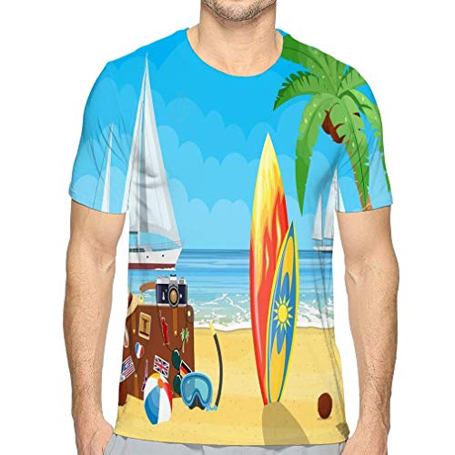 Men's Summer Short Sleeve Shirt Printed Casual Light Weight T Shirt Vintage Old travel Suitcase Paradise Beach sea Yachts Colored Surfboard Leather Retro Bag Stickers Vacation Cool