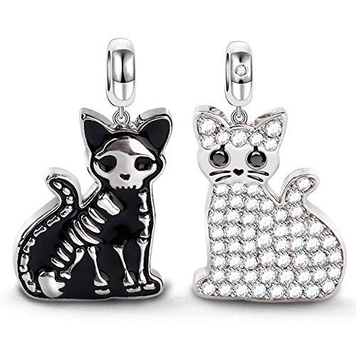 GNOCE Doppelseitige Katze Charm Anhänger 925 Sterling Silber