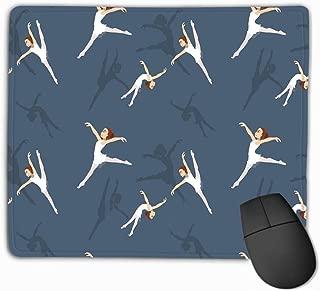 Mousepad Custom Design Gaming Mouse Pad Rubber Oblong Mouse Mat 11.81 X 9.84 Inch Yoga Wallpaper eps File Manga Style Ballet Girl Cartoon Background Seamless Dark Blue