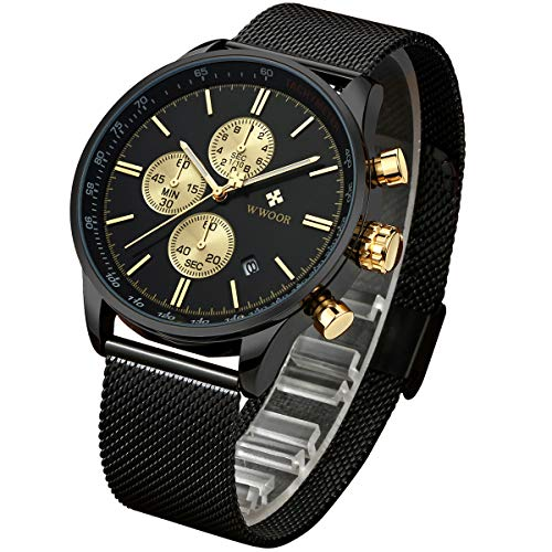 WWOOR Reloj de Pulsera para Hombre Esfera De Cuarzo Negro Acero Inoxidable Correa Relojes deportivos para hombres Reloj militar …