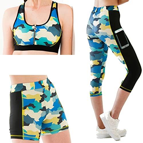 yeni inci Set di 3 leggings sportivi da donna, per fitness, yoga, 3/4, leggings corti e reggiseno sportivo, set di abbigliamento sportivo (L, TKM-135)