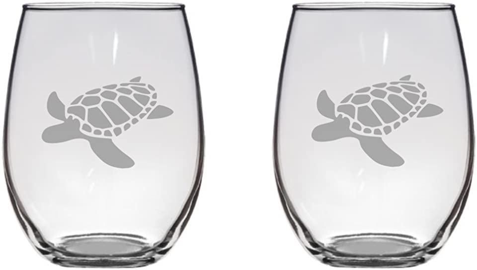 Sea Turtle Etched 20.5 Stemless Wine Glasses Set of Two