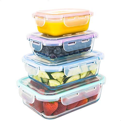Luxury & Grace Contenitori in Vetro (0,36+0,60+1+1,5 L). Contenitori Ermetici per Alimenti e Sicuri per Microonde, Forno, Lavastoviglie e Congelatore. Senza BPA.