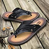 Zapatillas Casa Chanclas Sandalias Zapatillas De Cuero Hechas A Mano para Hombre Chanclas De Moda Zapatillas De Exterior Cómodas Y Transpirables-Black_9
