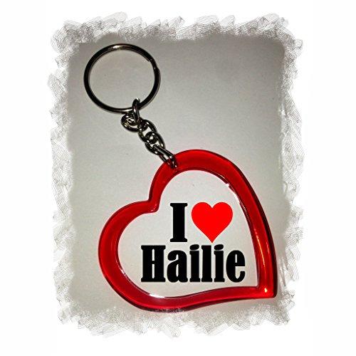 Druckerlebnis24 Herz Schlüsselanhänger I Love Hailie - Exclusiver Geschenktipp zu Weihnachten Jahrestag Geburtstag Lieblingsmensch