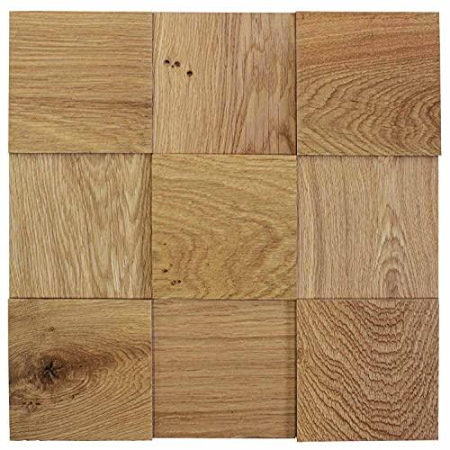 wodewa Wandverkleidung Holz 10x10cm 3D Optik Eiche geölt strukturiert 1 Holzmosaikmatte Moderne Wanddekoration Holzverkleidung Wohnzimmer Küche
