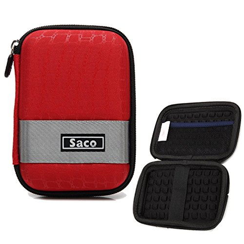 Saco Portable Shock Proof HDD case 2.5 inch Cover Pouch Bag for USB External Hard Disk Compatible with Seagate Toshiba Western Digital WD My Passport - Red