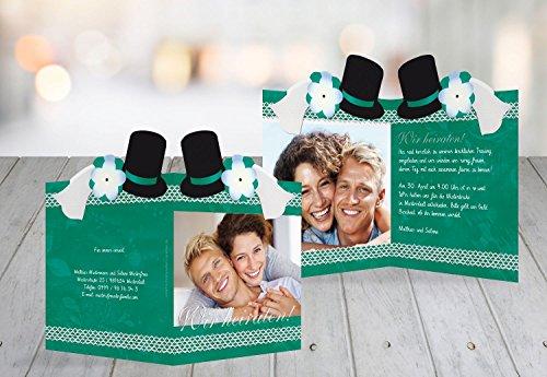 Kartenparadies Hochzeitskarte Kontur Einladung Schleier & Zylinder, hochwertige Einladung zur Heirat inklusive Umschläge | 50 Karten - (Format: 105x148 mm) Farbe: AquaTürkis