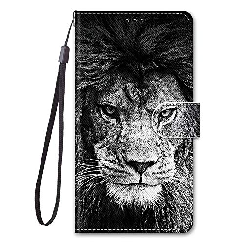 Miagon Full Body Flip PU Leder Schutzhülle für iPhone 6/6S,Bunt Muster Hülle Brieftasche Case Cover Ständer mit Kartenfächer,Löwe
