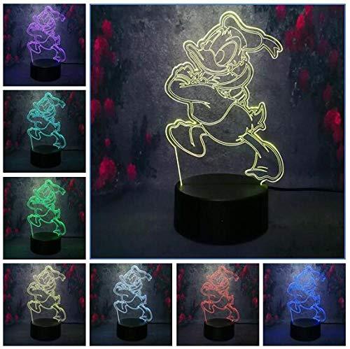 Nette Karikatur Donald Duck 3D Nachtlicht Led Farbe Illusion Kinder Kinder Nachtlicht Geburtstagsgeschenk Gedroom Tisch Schreibtisch Lampusb Wiederaufladbare Jungen Mädchen Präsentieren Dekor Für Bar