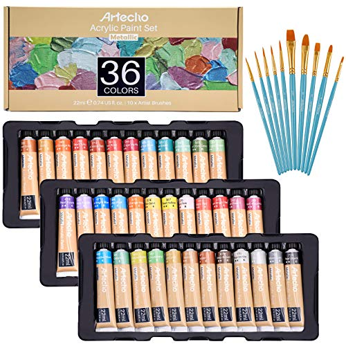 Artecho crylic Paint Set for Art, Decorate, 36 Metallic Colors 0.74 Ounce/22ml, Acrylic Paint Supplies for Wood, Fabric, Crafts, Canvas, Leather&Stone