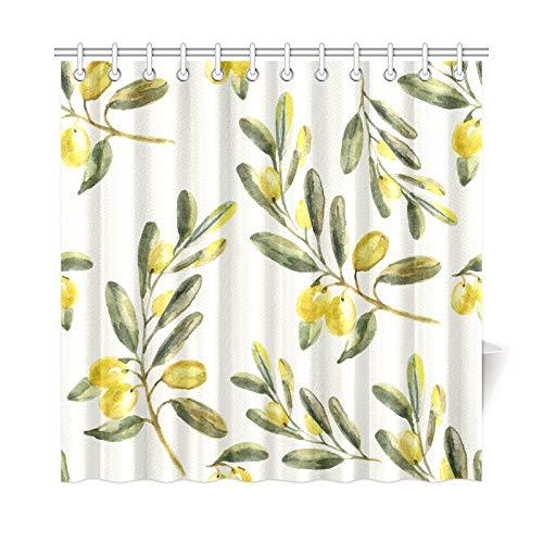 N\A Home Decor Rown Duschvorhang Olivgrün Friedliche Pflanzen Polyester Stoff Wasserdichter Vorhang Fenster Badezimmer Für Badezimmer 72 * 72 Zoll (183 x 183 cm) mit Haken