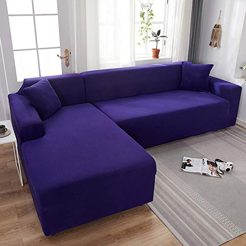 CC.Stars Sectional Couch Covers,Stretch Sectional Couch Covers,Elastic Stretch Sofa Slipcovers,Soft and Durable,Suitable for Pets, Children,etc.1/2/3/4 Seats-Deep Purple_Triple