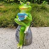 Gartendeko Frosch Deko Garten Figuren Frosch-Garten-Statue, sitzend auf Steinfiguren, Skulptur für Hof, Desktop