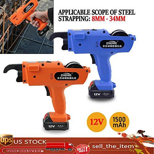 Rebar Tying Machine 30-60mm Automatic Steel Bar Rod Tying Tools 13200mah Lightweight Handheld Tier Steel Bar Rod Tying Binding Tool (1, Orange)