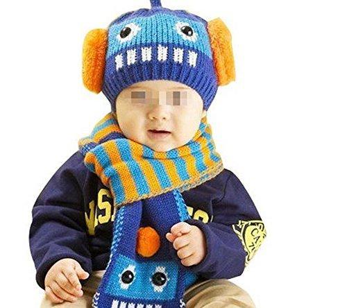 ZUMUii Butterme Mignon Petit garçon Hiver Laine épaisse Chaud avec Capuche Longue tricotée écharpe Chapeau Ensemble