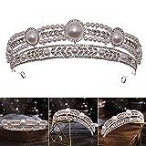 Heshan Corona de boda con perlas y diamantes de imitación elegante y exquisito accesorio para mujer para boda fiesta celebración