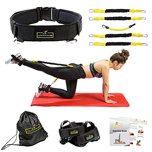 UVATIME Booty Resistance Bands with Adjustable Belt, Exercise Bands for Legs, Adjustable Ankle Bands, Vertical Jump Trainer, 2 Adaptable Levels of Resistance