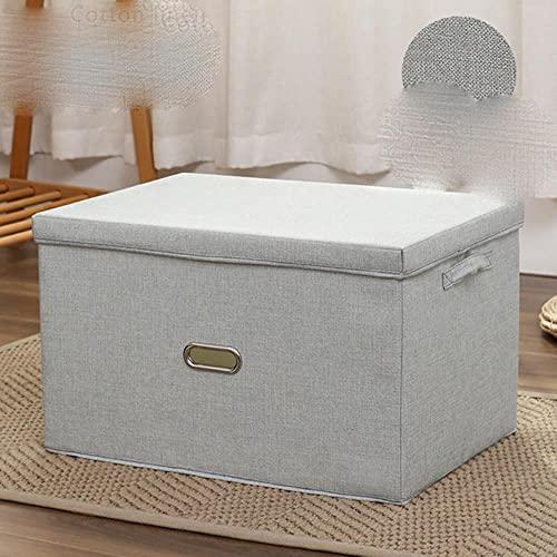 Múltiples modelos/a estrenar/gran capacidad de lino de algodón plegable caja de almacenamiento con tapa de ropa/almacenamiento de juguetes organización del hogar-L-sobre 44x30x29cm, gris claro, China
