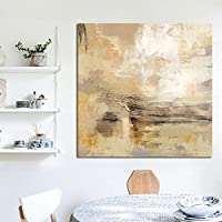 キャンバスのポスターとプリントの抽象的な黄色の絵画の写真リビングルームの壁の芸術の装飾のための現代の壁の写真50x50cmフレームなし