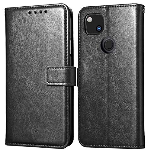 Case for Google Pixel 4a, Premium Folio Leather Flip Wallet Phone Case with [Kickstand] [Card Slots] [Magnetic Closure] Flip Notebook Cover Case (Black)