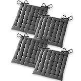 Gräfenstayn® 4er-Set Baumwoll-Sitzkissen 40x40x5cm mit Haltebändern für Indoor und Outdoor mit...
