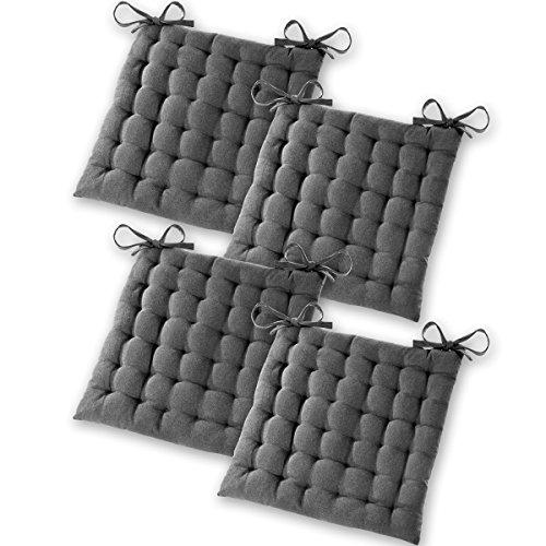 Gräfenstayn® 4er-Set Baumwoll-Sitzkissen 40x40x5cm mit Haltebändern für Indoor und Outdoor mit Öko-Tex Siegel - (Anthrazit)